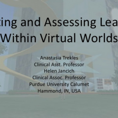 Activities and Assessments in Virtual Worlds